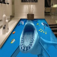 PVC selbstklebende wasserdichte Bodenaufkleber 3D Stereo Shark Boden Fliesen Badezimmer Küchenboden Wandbild Wallpaper Papel de Parde 3D H0827