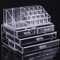 New Fahison Transparent Makeup Box Acrylic Cosmetics Organizer Desktop Clear Box Storage Case Large For Women Gifts Af1