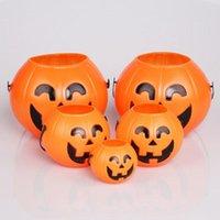 Party Decoration Halloween Props Plastic Pumpkin Bucket Trick Treat Cosplay Pouch Holder