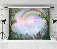 Весенний сад фон фантазии замка радуга неба фотография фона листья листья фиолетовые цветы декор фона для детей детская вечеринка