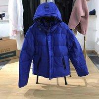 2021 Men Women Down Puffer Jacket Oblique Full Body Letter Appliques Tags Designer Male Warm Zipper Outwear Stand Plaid Collars Winter Coat Mens Clothes