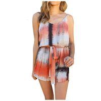 Summer Printed Shorts Jumpsuit Women Casual Spaghetti Strap V-Neck Slim Beach Romper Ladies Sleeveless Sexy Short Playsuits #LR2 Women's Jum