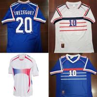 أعلى جودة الرجعية نسخة فرنسا لكرة القدم جيرسي 96 98 04 04 06 zidane هنري مايور دي القدم قميص كرة القدم 2000