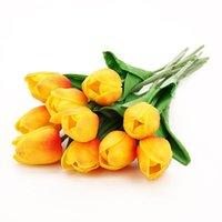 Flores decorativas guirnaldas 1/3/7 cabezas tulipanes artificiales Bunch Flower PU cuero seda ramo falso fiesta boda casa jarrón decoración