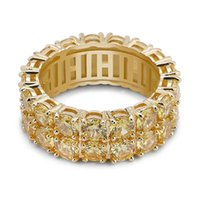 2021 uomini anelli d'oro gioielli moda 18 carati in oro cerchio anelli di cerchio alla moda di lusso Bling 2 righe zircone anello hip hop gioielli
