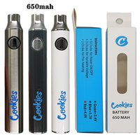 Cookies Vape Battery 650mAh VV Variable Voltage Preheat Preheating Batteries Black Silver White Colors 510 Thread Battery With USB Charger OME logo Welcome