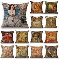 Vintage Art European Art Nouveau Mucha Sofa Pillow Coperture Home Decorative Fodera Beautiful Girl Pattern Cuscino Cover JK2103XB
