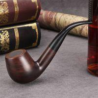 Hot Tabak Handmade Ebony Tabakpfeife Gebogene Griff Zigarettenhalter Rauchen Set Filterelement Zubehör Freies Verschiffen