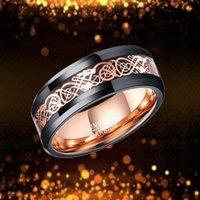 Anneaux de mariage Hommes 8mm Black Tungstène Bague en carbure de tungstène rose Gold Dragon Celtic Inlay Anniversary Bands de fiançailles pour hommes