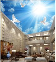 Wallpapers Custom Ceiling Wallpaper For Walls 3 D Mural Fashion HD Blue Sky White Clouds Sunshine Seagull Decoration