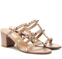 Summer Lady Rockstud Leather Sandals Sandals Mule Scherta Strap Pantofole Chunky Tacchi Donne Sandali da donna Slidels Scivoli Casual all'aperto Scivoli da spiaggia EU35-43