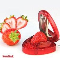 Strawberry Slicer Obstwerkzeug Neue Kunststofffrucht Carving Messerschneider mit 7 Edelstahl-scharfen Klinge Kitchen Gadgets FWF11067