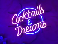 """17""""x14"""" Cocktails and Dreams Real Glass Tube Neon Light Sign Beer Bar Pub Party Visual Artwork Gift"""