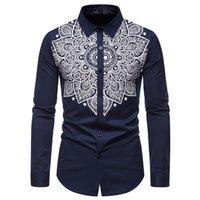 Chemise à manches longues à manches longues pour hommes Paisley fleur imprimé T-shirt décontracté mince homme formelle marque t-shirts cols collier robe mâle chemises tee-shirts à poitrine unique
