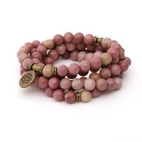Tennis 108 Mala Bears Wrap Bracte для йоги натуральный палисандр текстуры каменные браслеты ожерелья мода ювелирные изделия женщин мужской браслет