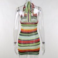 Viifaa Multicolor вязаный просмотр скрин-сквозь пляжный отдых Женщины сексуальное платье для летнего вырезанного Halter Backbloe Bodycon Mini DodayWimwear Wathin