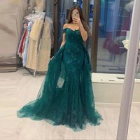 Green Mermaid Lace Evening Dress Party Elegant 2021 Off The Shoulder Prom Gown Detachable Train 2 in 1 Long Dresses