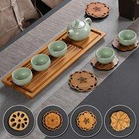 Matten Pads Chinesischer Stil Bambussprodukte Tee Potholdder Tasse Halter Natürliche geschnitzte Designmatte Home Decoration