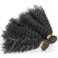 Peruano Mongulian I propensiones para el cabello Afro Kinky Curly 100 Strands Pre Bated Stick I TIP TIP KERATIN FUSION REMY VIRGEN VIRGEN CIOR HUMANO EXTENSIÓN