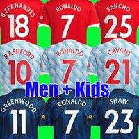 CR7 남자 호나우두 산초 rashford 축구 유니폼 21 22 Shaw 2021 2022 Pogba Cavani Martial Van de Beek B. Fernandes Greenwood Football Shirt Kids