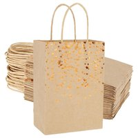 Gift Wrap 25pcs Paper Bags 15x21x8cm Kraft For Christmas Birthday Party Wedding Celebrations Candy Cookie Packaging