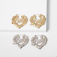 Cercle métal boucles boucles d'oreilles en forme de cœur mode de mode geometric creux lettre boucle d'oreille tendance personnalité simple femmes préférées oreille bijoux cadeaux