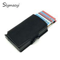 Card Holders Slymaoyi Twin Metal Blocking Aluminium Vintage Business ID Holder Men Slim Double Case Wallet Purse