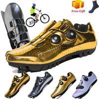 newArrive Gold Road MTB Cycling Shoes Bike Self-Locking Carbon Fiber Ultralight Professional Bicycle Racing 210714