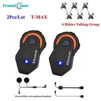 2 pcs / lot freedconn T-max 1000m casque de moto Bluetooth casque Bluetooth 6 coureurs Groupe Système de discussion Interphone avec FM
