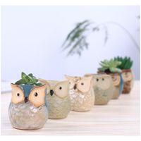 Nuova vaso di fiori a forma di gufo del fumetto per piante carnose di piante di succulente flowerpot ceramica piccola mini home / giardino / di jllqxb Warmslove