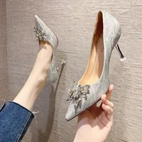 Dress Shoes Crystal Wedding For Women 2021 Women's Korean Bow Bridesmaid With High Heels