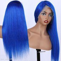 13x6 Silky Dritto Blu 24 pollici Afro Donne Kinky Straight Parrucche corte Blue Pick Brown Cosplay Capelli sintetici resistenti al calore