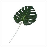 Decorative Wreaths Festive Party Supplies Home & Garden-12Pcs Artificial Monstera Palm Leaves Green Plants Wedding Diy Decoration Fake Flowe