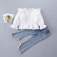 2-7 Years High Quality Spring Girl Clothing Set Fashion Floral Solid Shirt + Pearl Jeans Kid Children Girls 210729