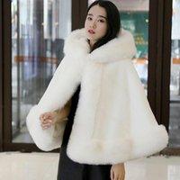 Women's Fur & Faux 2021 Winter Jacket Shawl Cloak Coat Female Thick Knot Wedding Dress Bride With Velvet To Keep Warm