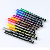 12 ألوان / مجموعة خط مزدوج القلم المعدنية بريق اللون مخطط الفن ماركر القلم diy الألبوم بمناسبة أقلام للطلاء مدرسة jllumj