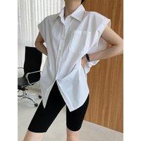 Women's Blouses & Shirts Yeeloca Simple White Coffee Sleeveless Shirt 2021 Summer Lapel Design Loose Blousers Korean Single Breasted Top