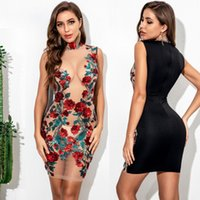 Women's Sheer Mesh See-through Clubwear Mini Dress Transparent Nightclub Tight Dress Floral Embroidery Sequin Party Dress w101