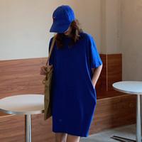 여성 캐주얼 느슨한 솔리드 티셔츠 O 넥 미니 드레스 배틀 링 짧은 소매 기본 드레스 Vestidos