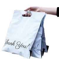 100 unids / lotes bolsa de asas naranja Express Courier Bag Autocelera Adhesivo Adhesivo Grueso Impermeable Poly Poly Sobre Bolsas de envío