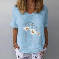Damen T-Shirt Bischan Sommer Casual Blume Druck T-shirt Frauen Lose Komfortables V-ausschnitt Kurzarm Tops Street Wear