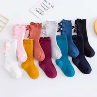 2021Bowknot middle girl's long tube solid color wood ear lace children's socks