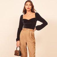 Womens Official Website Gold Velvet Square Collar Bottoming Shirt Fashion Inner Match Long Sleeve Shirt Fall Winter Slim Top
