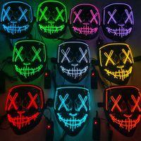 10 colores Máscara de miedo de Halloween Cosplay LED Máscara Iluminada Encima de la máscara de horror del alambre Glow en Masque Dark Festival Fiesta Máscaras Cyz3232