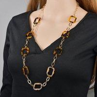 Nova declaração vintage acrílico colares de cadeia longa mulheres mulheres leopardo link link resina colar gargantilha colar de jóias acessórios