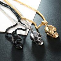 Stainless Steel Necklaces Jewelry Gothic Accessories Chain Mens Locket Festival Halloween Gift Skull Titanium Steels Punk Hip-hop