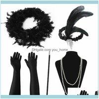 Hats Festive Supplies Home & Garden20S Great Gatsby Party Set 1920S Flapper Fancy Dress Aessory Women Feather Headband Glove Earring For Par