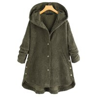 Women's Wool & Blends Autumn And Winter Jacket Fashion Solid Color Corduroy Hooded Cotton Coat Casual