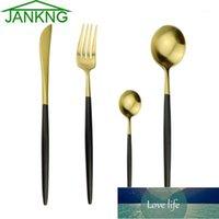 JANKNG 4-PCS 304 Setware de acero inoxidable conjunto mate negro oro vajilla conjunto vajilla utensilios accesorios cubiertos dropship1 Precio de fábrica Diseño de expertos