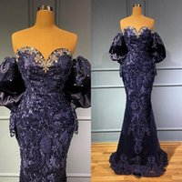 Luxurious Lace Applique Evening Dresses Crystal Beaded Off Shoulder Prom Dress Sexy Navy Blue Formal Second Reception Party Gowns